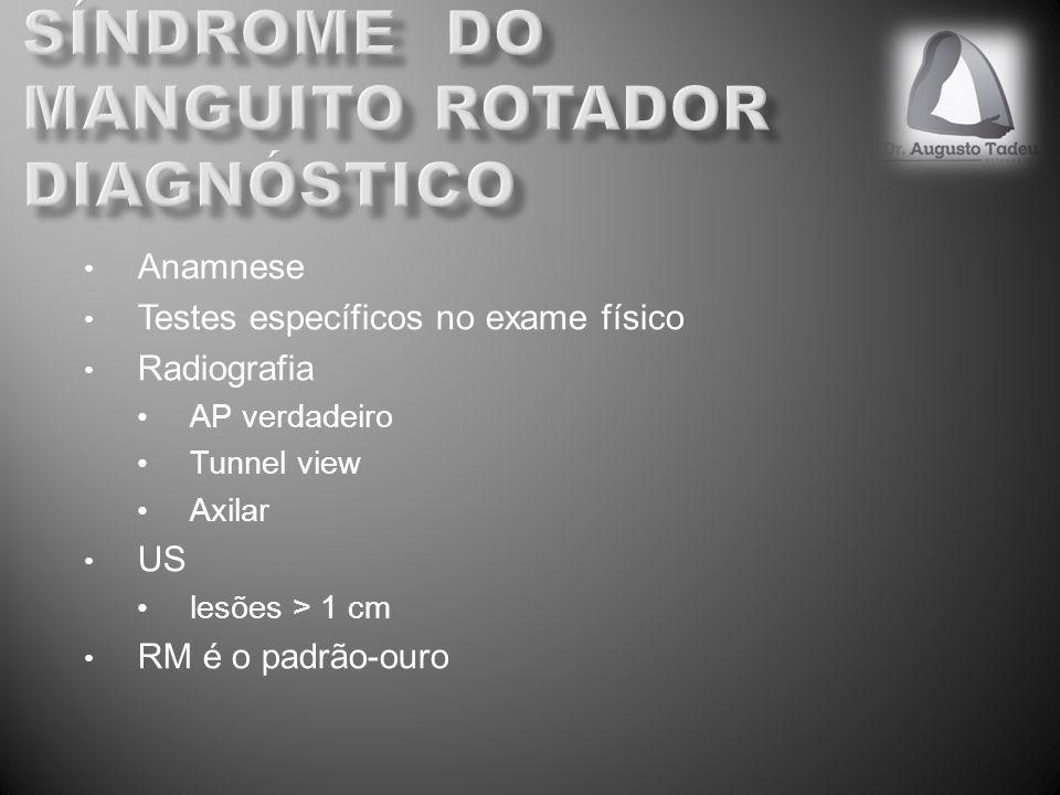 Anamnese Testes específicos no exame físico Radiografia AP verdadeiro Tunnel view Axilar US lesões > 1 cm RM é o padrão-ouro