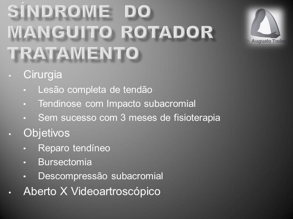 Cirurgia Lesão completa de tendão Tendinose com Impacto subacromial Sem sucesso com 3 meses de fisioterapia Objetivos Reparo tendíneo Bursectomia Desc