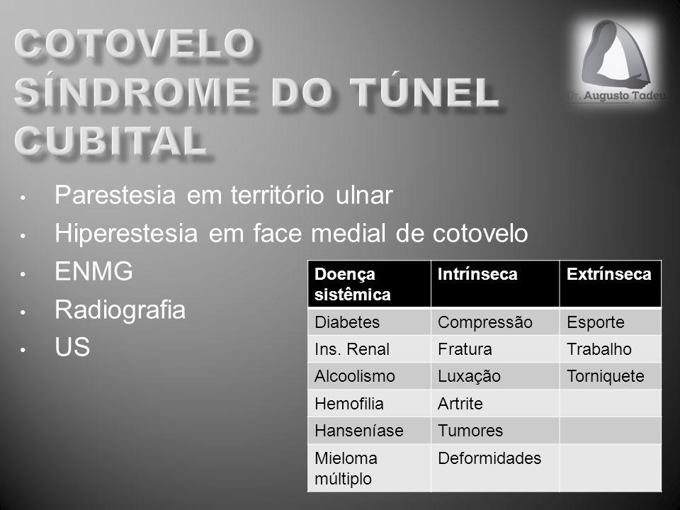 Parestesia em território ulnar Hiperestesia em face medial de cotovelo ENMG Radiografia US Doença sistêmica IntrínsecaExtrínseca DiabetesCompressãoEsporte Ins.