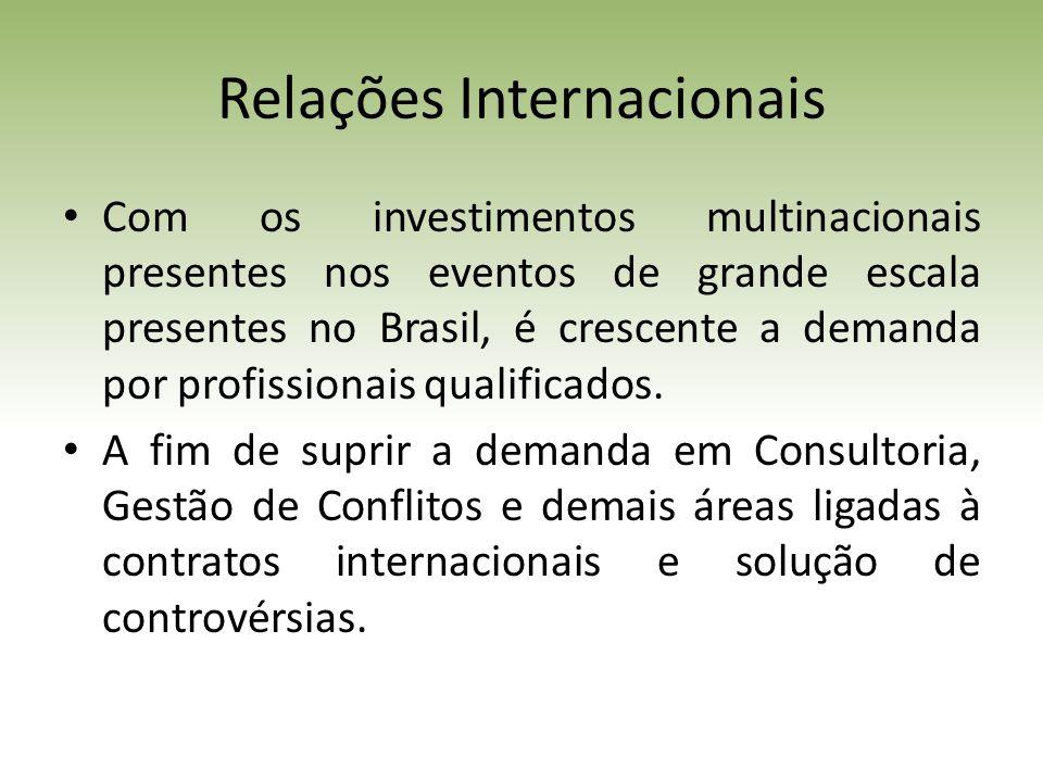 Relações Internacionais Com os investimentos multinacionais presentes nos eventos de grande escala presentes no Brasil, é crescente a demanda por profissionais qualificados.