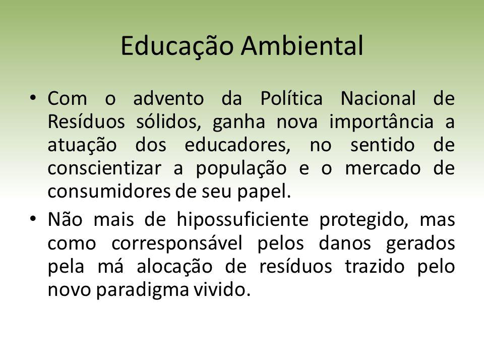 Educação Ambiental Com o advento da Política Nacional de Resíduos sólidos, ganha nova importância a atuação dos educadores, no sentido de conscientizar a população e o mercado de consumidores de seu papel.