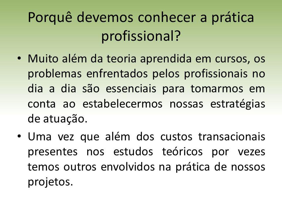 Porquê devemos conhecer a prática profissional.