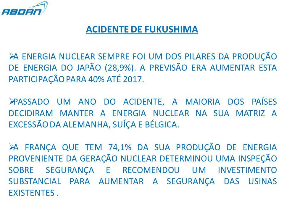 ACIDENTE DE FUKUSHIMA  A ENERGIA NUCLEAR SEMPRE FOI UM DOS PILARES DA PRODUÇÃO DE ENERGIA DO JAPÃO (28,9%).