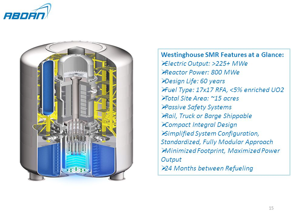 Westinghouse SMR Features at a Glance:  Electric Output: >225+ MWe  Reactor Power: 800 MWe  Design Life: 60 years  Fuel Type: 17x17 RFA, <5% enriched UO2  Total Site Area: ~15 acres  Passive Safety Systems  Rail, Truck or Barge Shippable  Compact Integral Design  Simplified System Configuration, Standardized, Fully Modular Approach  Minimized Footprint, Maximized Power Output  24 Months between Refueling 15