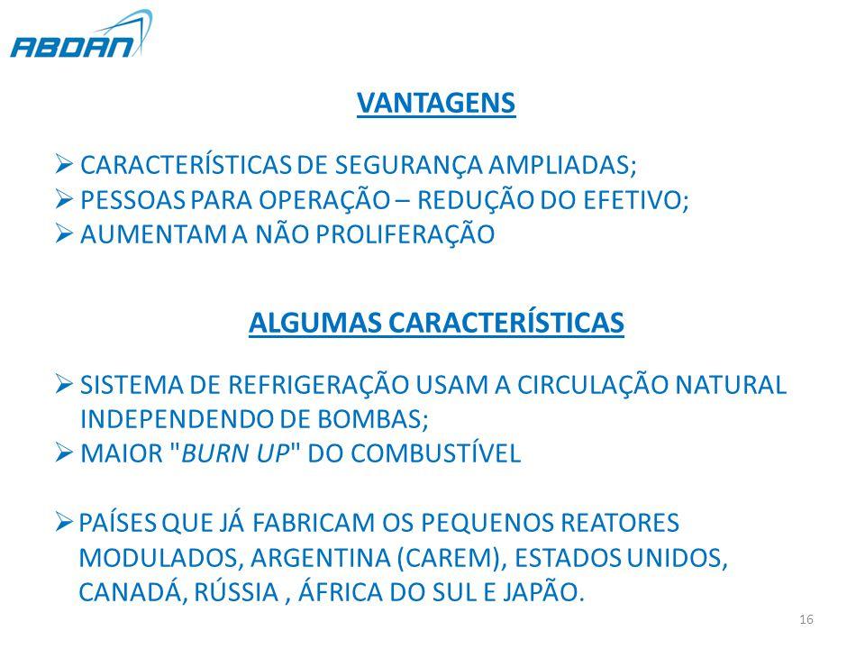 VANTAGENS  CARACTERÍSTICAS DE SEGURANÇA AMPLIADAS;  PESSOAS PARA OPERAÇÃO – REDUÇÃO DO EFETIVO;  AUMENTAM A NÃO PROLIFERAÇÃO ALGUMAS CARACTERÍSTICAS  SISTEMA DE REFRIGERAÇÃO USAM A CIRCULAÇÃO NATURAL INDEPENDENDO DE BOMBAS;  MAIOR BURN UP DO COMBUSTÍVEL  PAÍSES QUE JÁ FABRICAM OS PEQUENOS REATORES MODULADOS, ARGENTINA (CAREM), ESTADOS UNIDOS, CANADÁ, RÚSSIA, ÁFRICA DO SUL E JAPÃO.