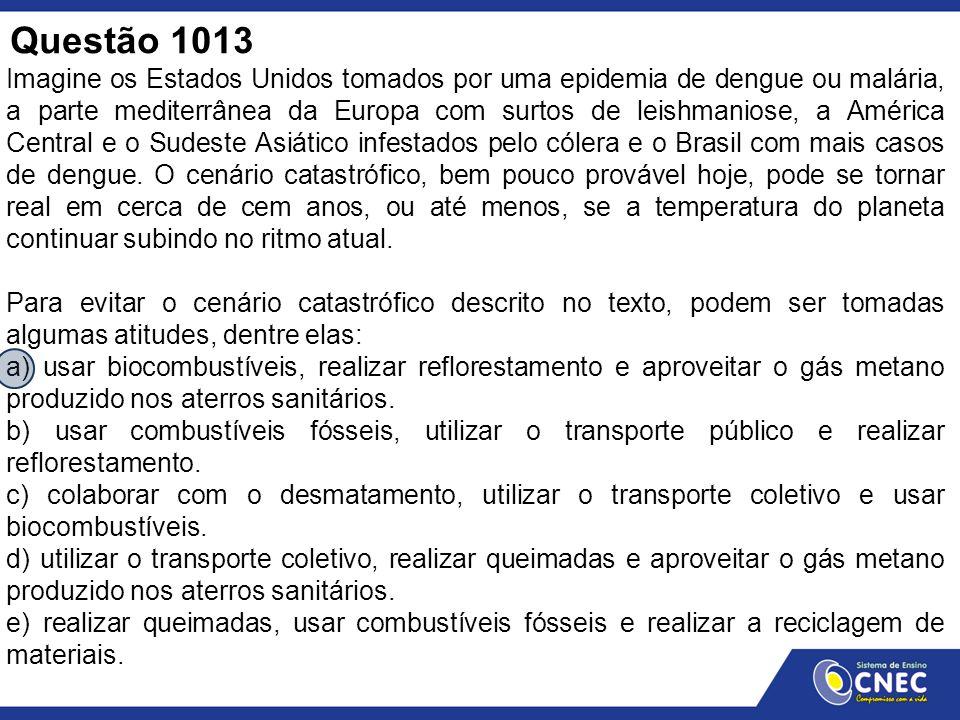 Questão 1013 Imagine os Estados Unidos tomados por uma epidemia de dengue ou malária, a parte mediterrânea da Europa com surtos de leishmaniose, a Amé