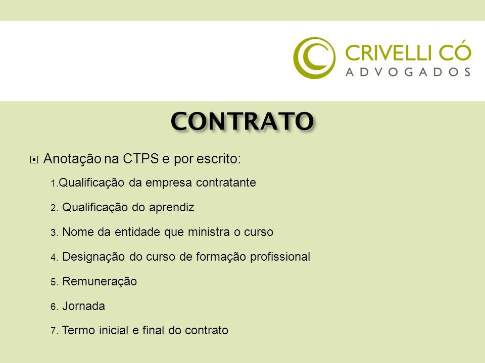 CONTRATO  Anotação na CTPS e por escrito: 1. Qualificação da empresa contratante 2. Qualificação do aprendiz 3. Nome da entidade que ministra o curso