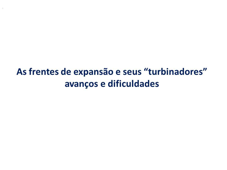 . As frentes de expansão e seus turbinadores avanços e dificuldades
