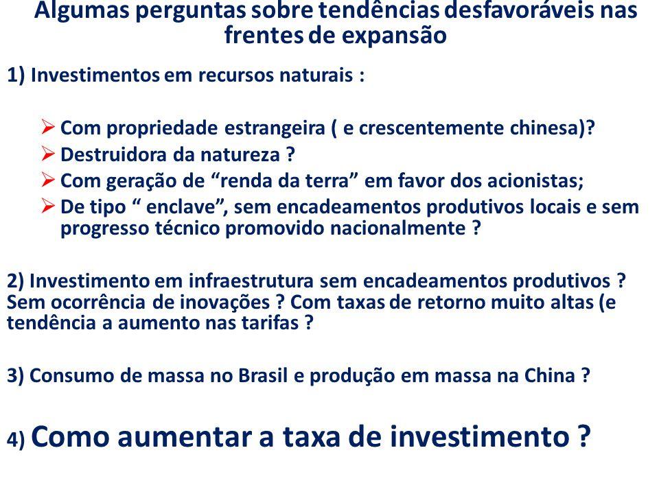 Algumas perguntas sobre tendências desfavoráveis nas frentes de expansão 1) Investimentos em recursos naturais :  Com propriedade estrangeira ( e crescentemente chinesa).