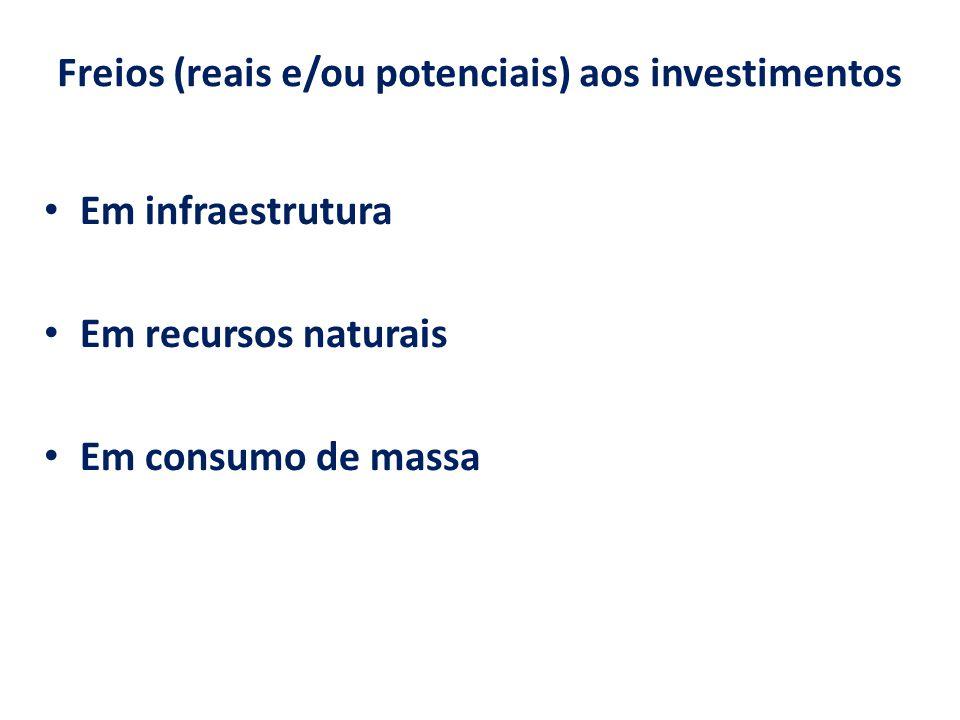 Freios (reais e/ou potenciais) aos investimentos Em infraestrutura Em recursos naturais Em consumo de massa