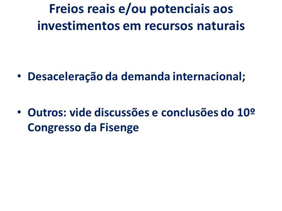 Freios reais e/ou potenciais aos investimentos em recursos naturais Desaceleração da demanda internacional; Outros: vide discussões e conclusões do 10º Congresso da Fisenge