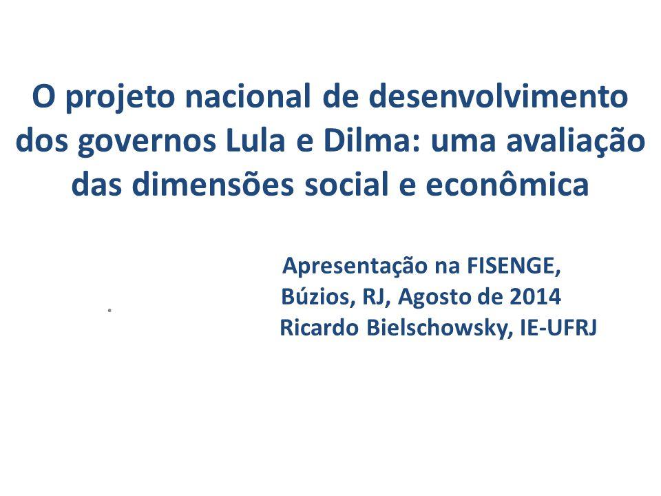 O projeto nacional de desenvolvimento dos governos Lula e Dilma: uma avaliação das dimensões social e econômica Apresentação na FISENGE, Búzios, RJ, Agosto de 2014 Ricardo Bielschowsky, IE-UFRJ.