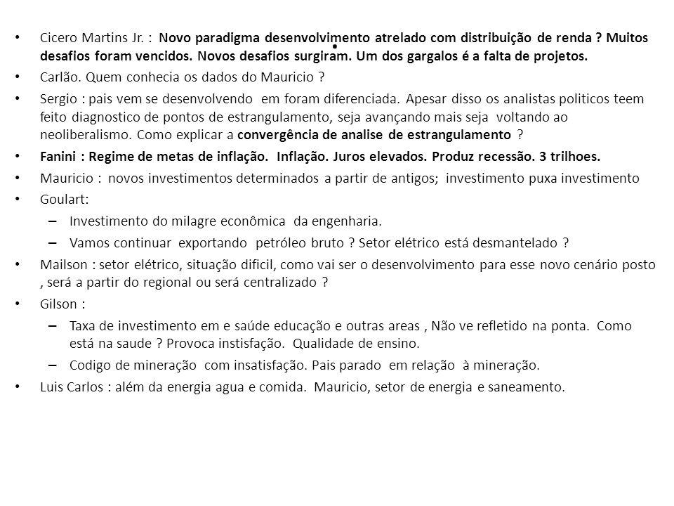 Cicero Martins Jr.: Novo paradigma desenvolvimento atrelado com distribuição de renda .