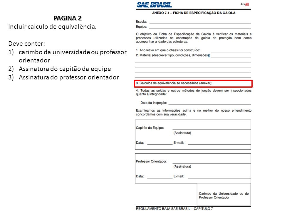 PAGINA 2 Incluir calculo de equivalência.