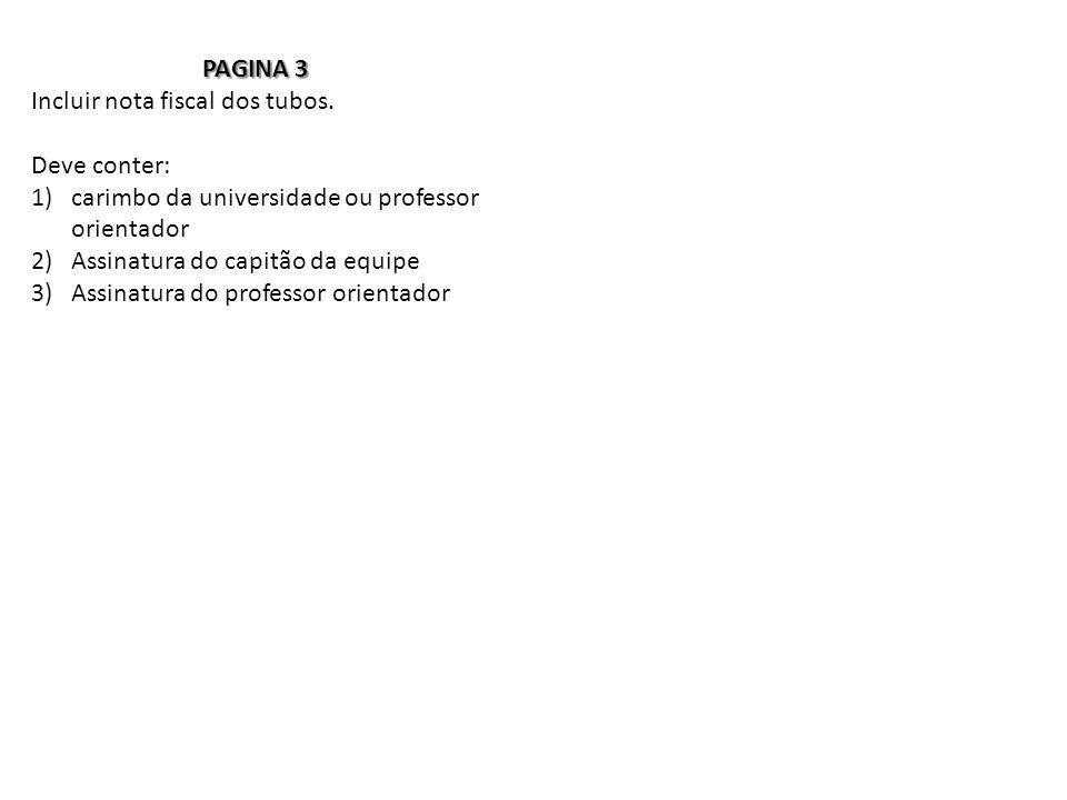 PAGINA 3 Incluir nota fiscal dos tubos.