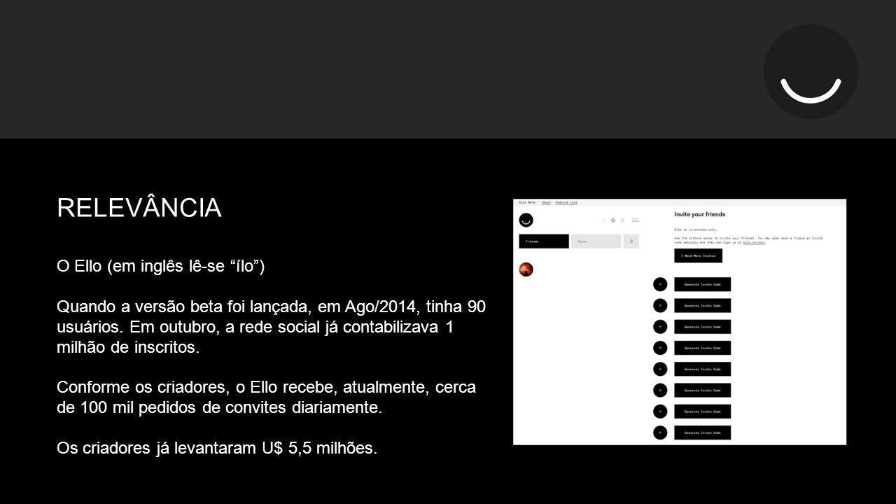 O Ello (em inglês lê-se ílo ) Quando a versão beta foi lançada, em Ago/2014, tinha 90 usuários.