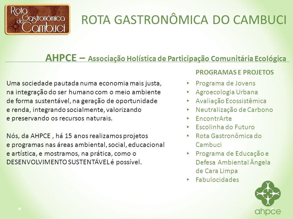 ROTA GASTRONÔMICA DO CAMBUCI Contatos AHPCE www.ahpce.org.br facebook/AHPCE falecom@ahpce.org.br