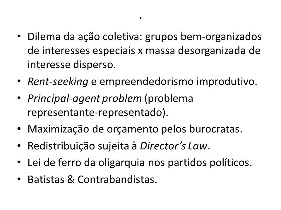 . Dilema da ação coletiva: grupos bem-organizados de interesses especiais x massa desorganizada de interesse disperso. Rent-seeking e empreendedorismo