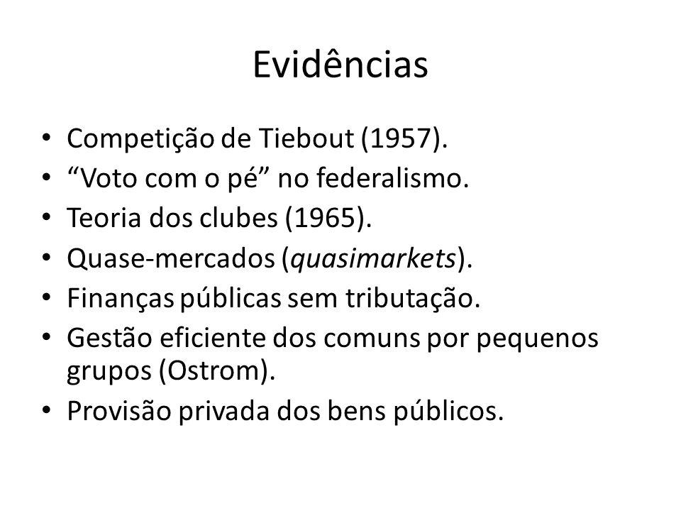 """Evidências Competição de Tiebout (1957). """"Voto com o pé"""" no federalismo. Teoria dos clubes (1965). Quase-mercados (quasimarkets). Finanças públicas se"""