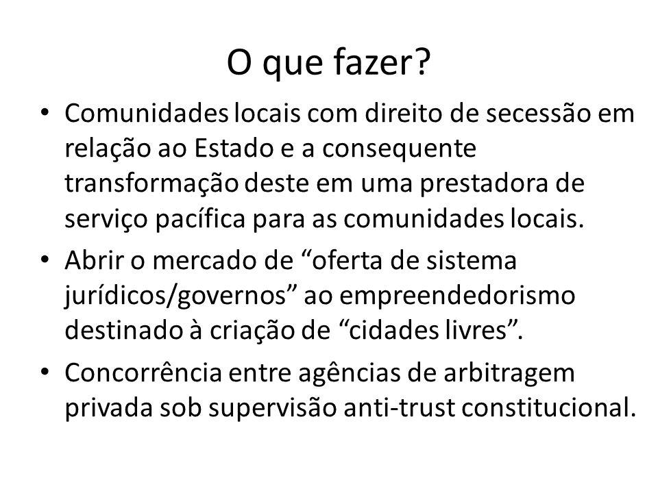 O que fazer? Comunidades locais com direito de secessão em relação ao Estado e a consequente transformação deste em uma prestadora de serviço pacífica