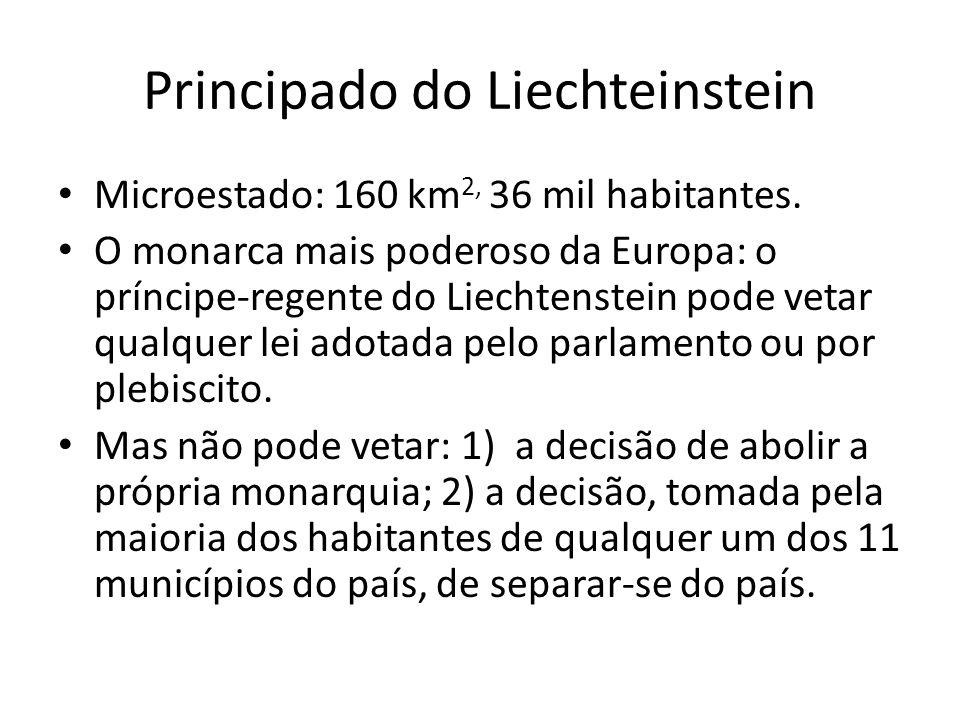 Principado do Liechteinstein Microestado: 160 km 2, 36 mil habitantes. O monarca mais poderoso da Europa: o príncipe-regente do Liechtenstein pode vet