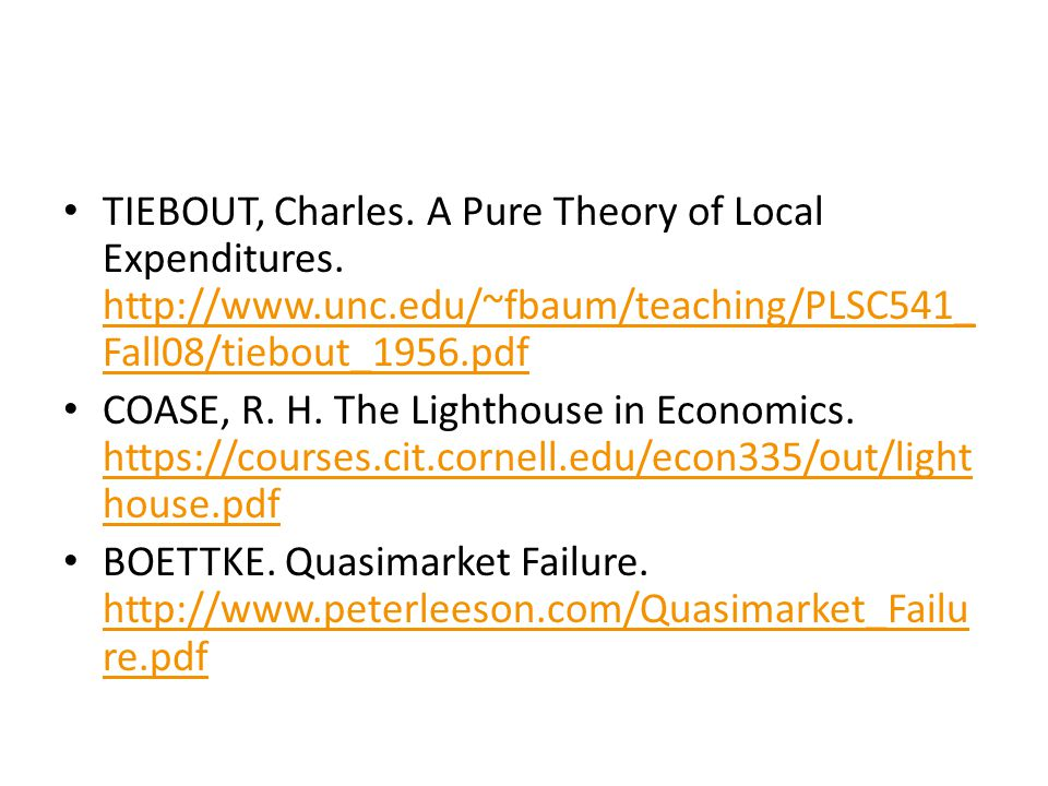 TIEBOUT, Charles. A Pure Theory of Local Expenditures.