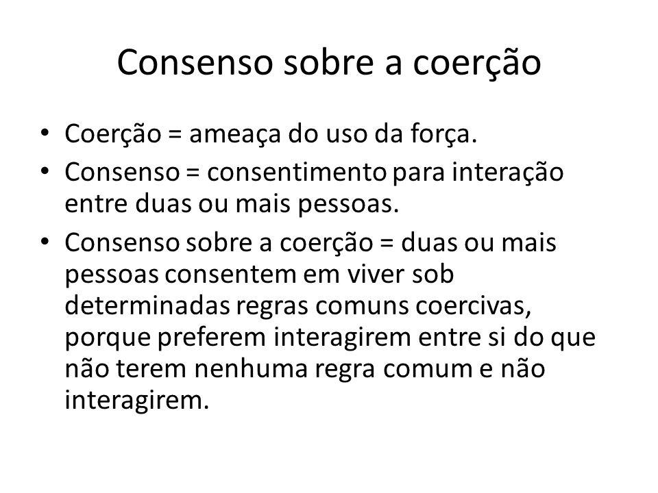 Consenso sobre a coerção Coerção = ameaça do uso da força. Consenso = consentimento para interação entre duas ou mais pessoas. Consenso sobre a coerçã