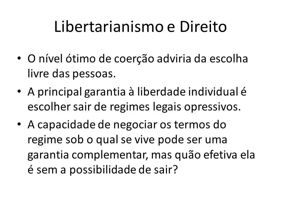 Libertarianismo e Direito O nível ótimo de coerção adviria da escolha livre das pessoas. A principal garantia à liberdade individual é escolher sair d