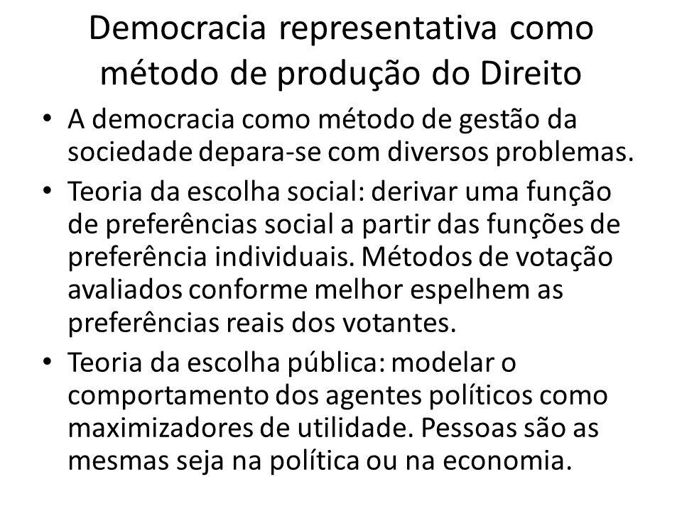 Democracia representativa como método de produção do Direito A democracia como método de gestão da sociedade depara-se com diversos problemas.