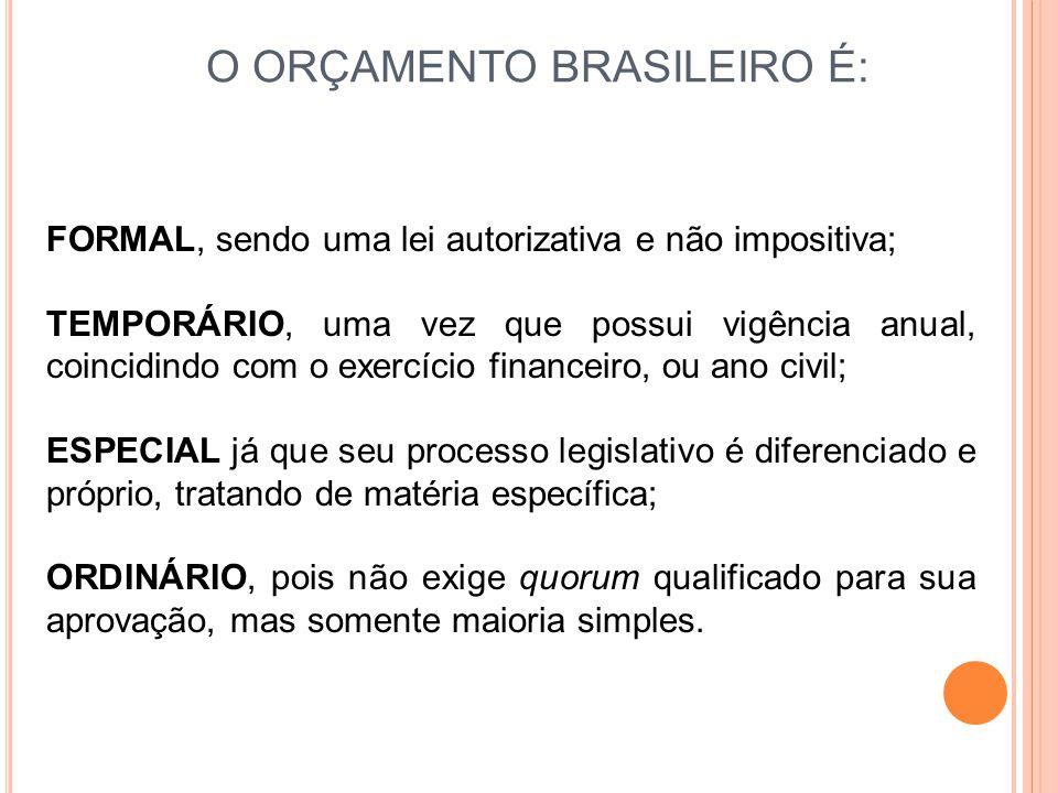 O ORÇAMENTO BRASILEIRO É: FORMAL, sendo uma lei autorizativa e não impositiva; TEMPORÁRIO, uma vez que possui vigência anual, coincidindo com o exercí