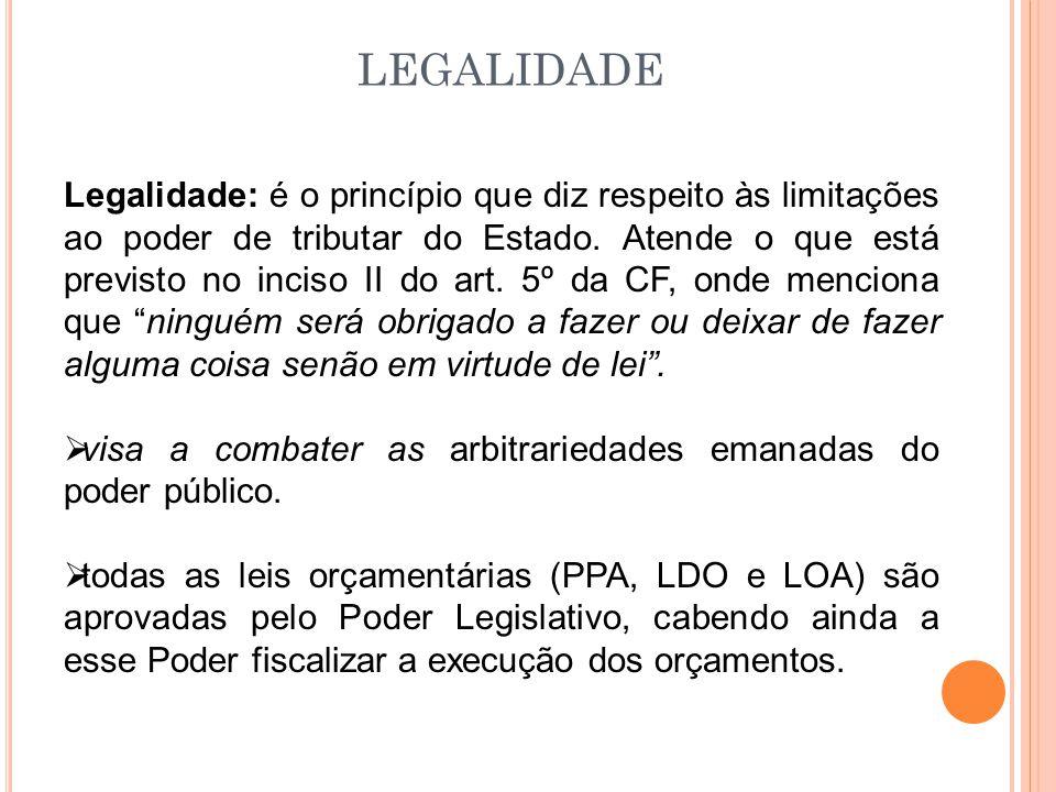 LEGALIDADE Legalidade: é o princípio que diz respeito às limitações ao poder de tributar do Estado.