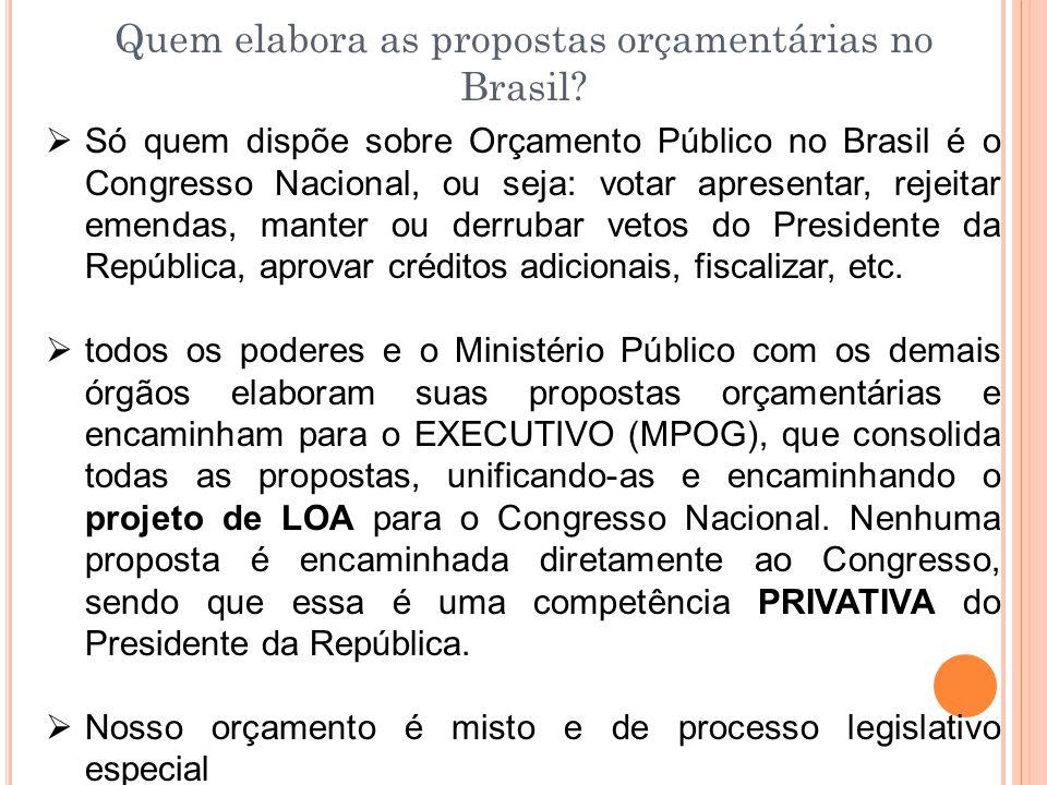 Quem elabora as propostas orçamentárias no Brasil?  Só quem dispõe sobre Orçamento Público no Brasil é o Congresso Nacional, ou seja: votar apresenta