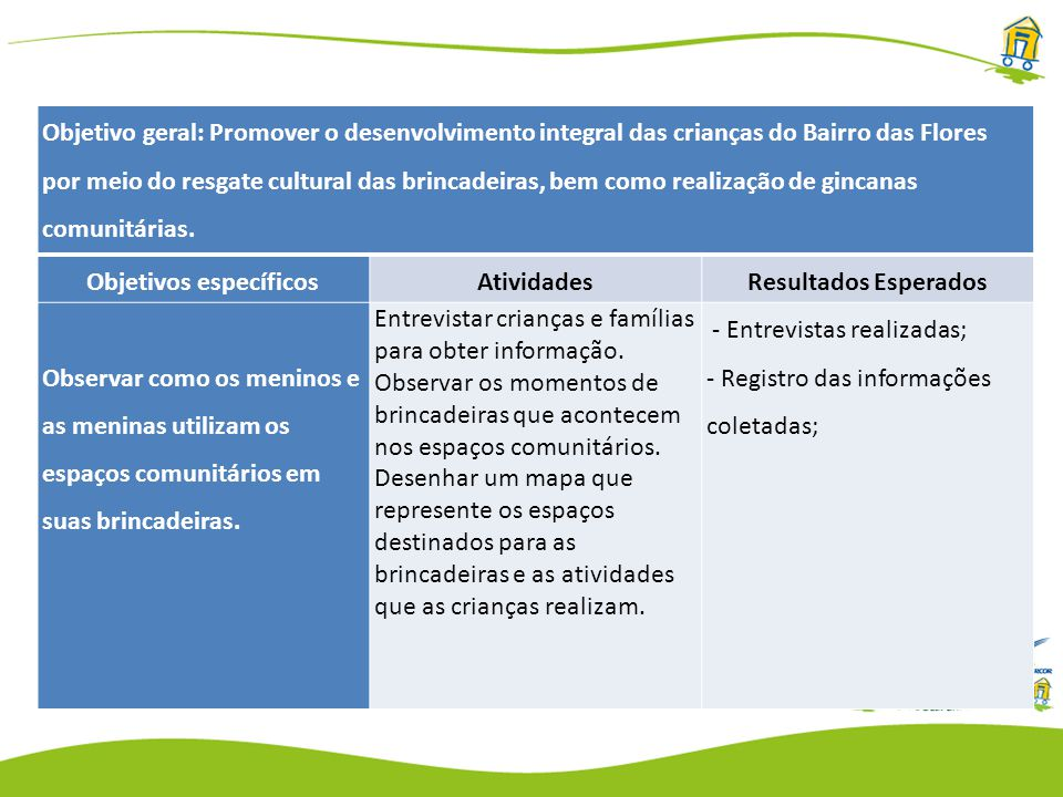 Objetivo geral: Promover o desenvolvimento integral das crianças do Bairro das Flores por meio do resgate cultural das brincadeiras, bem como realização de gincanas comunitárias.