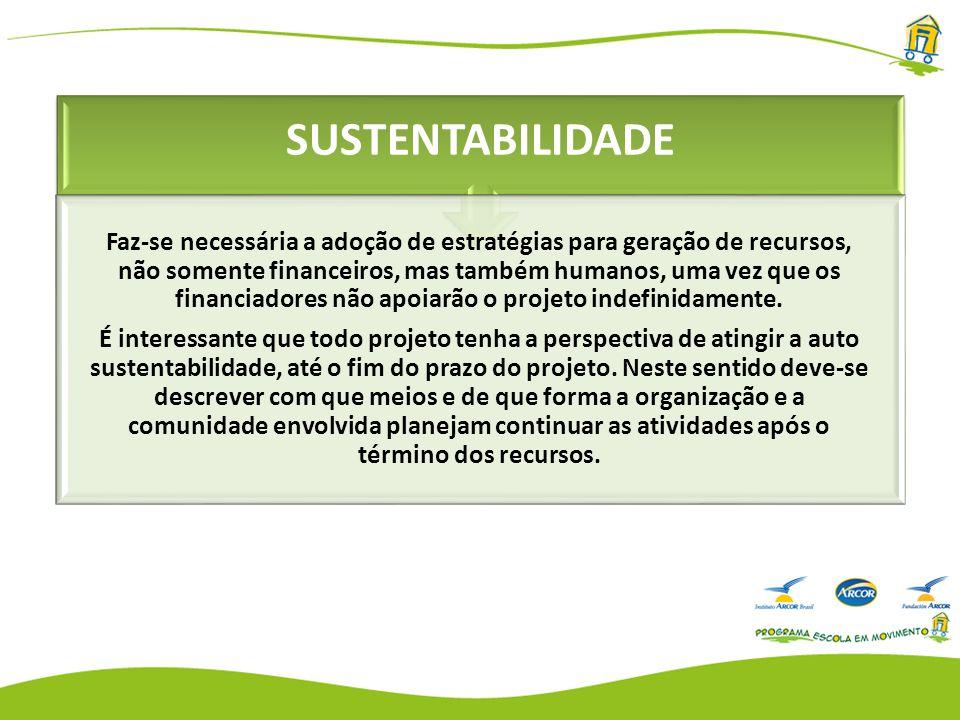 SUSTENTABILIDADE Faz-se necessária a adoção de estratégias para geração de recursos, não somente financeiros, mas também humanos, uma vez que os financiadores não apoiarão o projeto indefinidamente.
