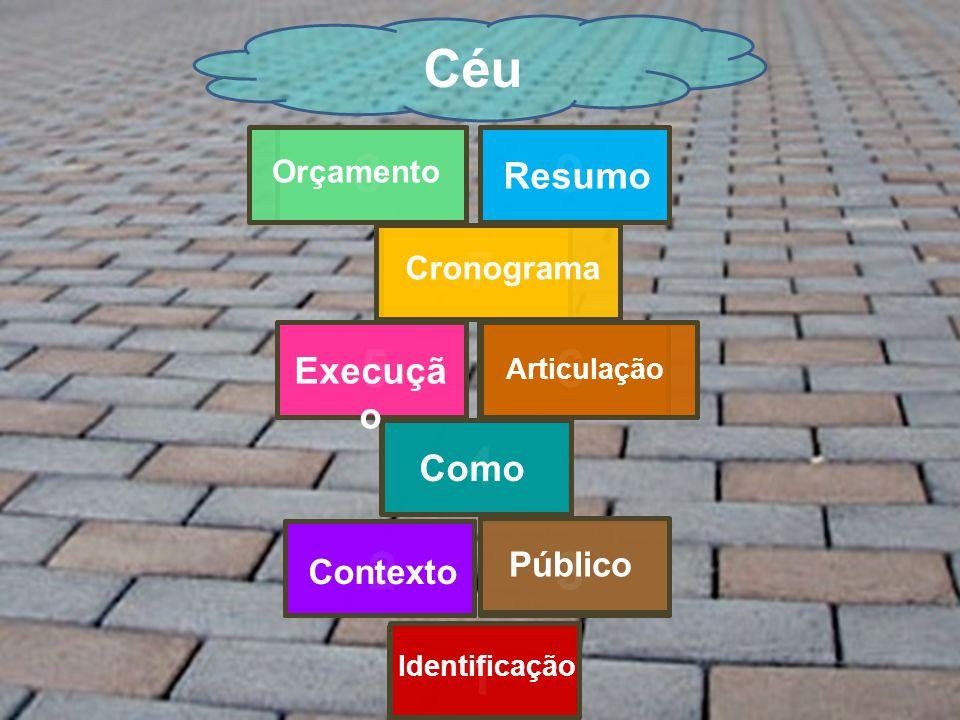 1 23 4 56 7 89 Céu Identificação Contexto Público ComoExecuçã o Articulação Cronograma Orçamento Resumo