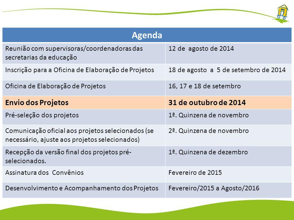 Agenda Reunião com supervisoras/coordenadoras das secretarias da educação 12 de agosto de 2014 Inscrição para a Oficina de Elaboração de Projetos18 de agosto a 5 de setembro de 2014 Oficina de Elaboração de Projetos16, 17 e 18 de setembro Envio dos Projetos31 de outubro de 2014 Pré-seleção dos projetos1ª.