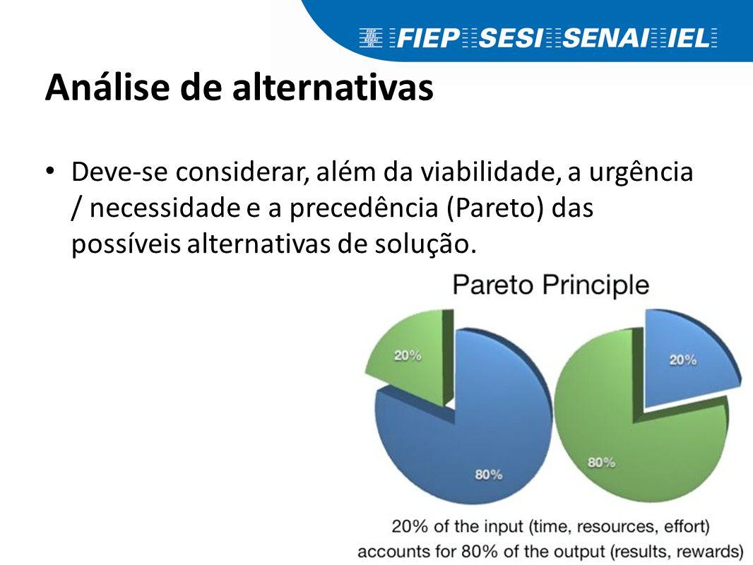 Análise de alternativas Deve-se considerar, além da viabilidade, a urgência / necessidade e a precedência (Pareto) das possíveis alternativas de soluç