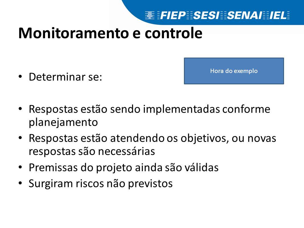 Monitoramento e controle Determinar se: Respostas estão sendo implementadas conforme planejamento Respostas estão atendendo os objetivos, ou novas res
