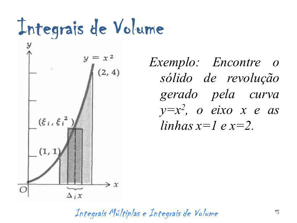 Integrais de Volume Exemplo: Encontre o sólido de revolução gerado pela curva y=x 2, o eixo x e as linhas x=1 e x=2.