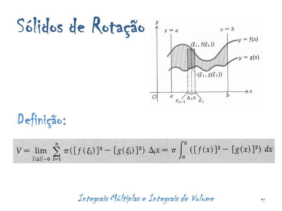 Sólidos de Rotação Definição: Integrais Múltiplas e Integrais de Volume 17