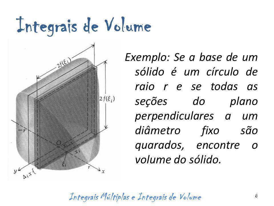 Integrais de Volume Exemplo: Se a base de um sólido é um círculo de raio r e se todas as seções do plano perpendiculares a um diâmetro fixo são quarados, encontre o volume do sólido.