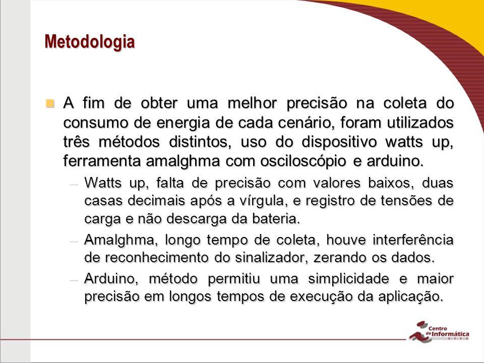 Metodologia A fim de obter uma melhor precisão na coleta do consumo de energia de cada cenário, foram utilizados três métodos distintos, uso do dispositivo watts up, ferramenta amalghma com osciloscópio e arduino.