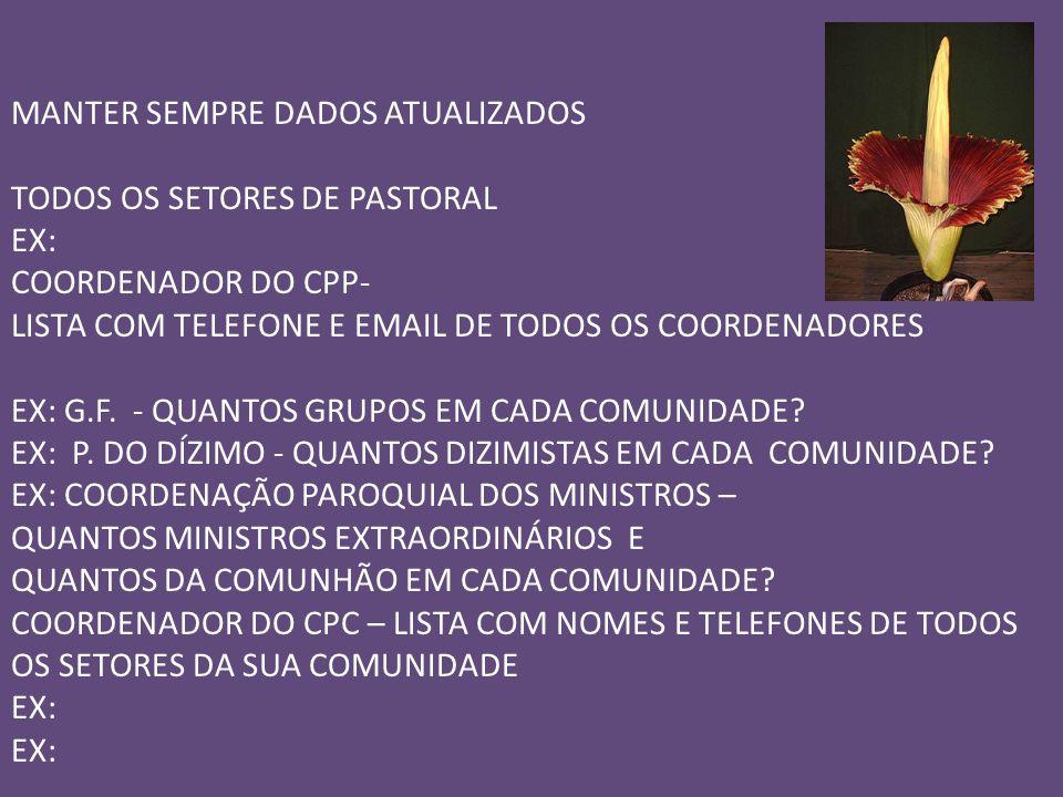 MANTER SEMPRE DADOS ATUALIZADOS TODOS OS SETORES DE PASTORAL EX: COORDENADOR DO CPP- LISTA COM TELEFONE E EMAIL DE TODOS OS COORDENADORES EX: G.F.