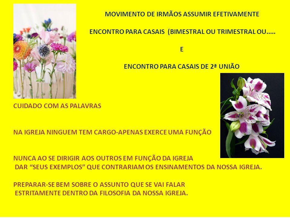 MOVIMENTO DE IRMÃOS ASSUMIR EFETIVAMENTE ENCONTRO PARA CASAIS (BIMESTRAL OU TRIMESTRAL OU.....