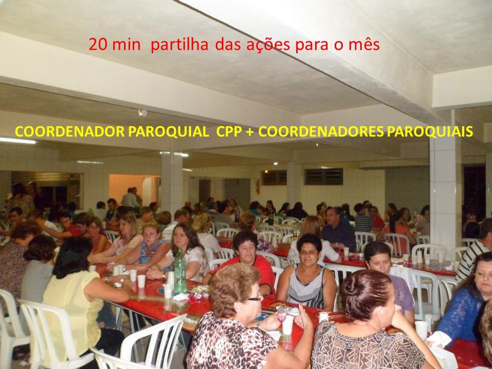 20 min partilha das ações para o mês COORDENADOR PAROQUIAL CPP + COORDENADORES PAROQUIAIS