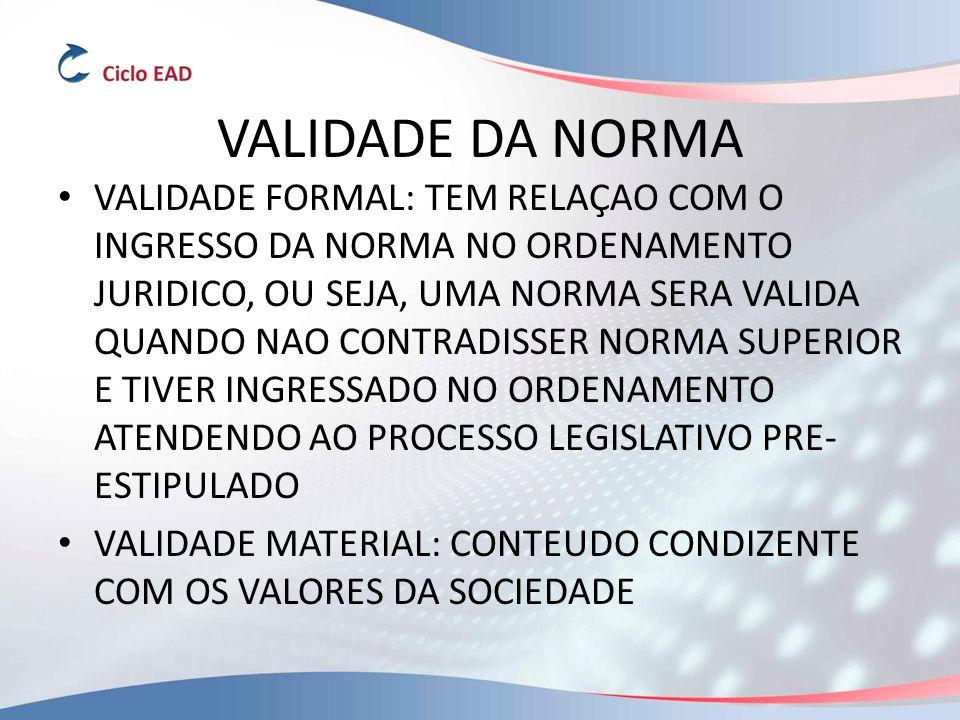VALIDADE DA NORMA VALIDADE FORMAL: TEM RELAÇAO COM O INGRESSO DA NORMA NO ORDENAMENTO JURIDICO, OU SEJA, UMA NORMA SERA VALIDA QUANDO NAO CONTRADISSER NORMA SUPERIOR E TIVER INGRESSADO NO ORDENAMENTO ATENDENDO AO PROCESSO LEGISLATIVO PRE- ESTIPULADO VALIDADE MATERIAL: CONTEUDO CONDIZENTE COM OS VALORES DA SOCIEDADE