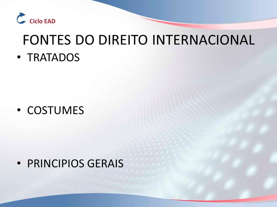FONTES DO DIREITO INTERNACIONAL TRATADOS COSTUMES PRINCIPIOS GERAIS
