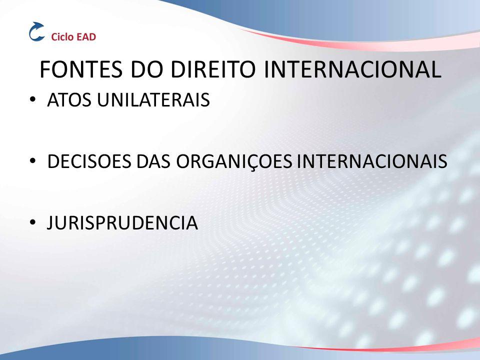 FONTES DO DIREITO INTERNACIONAL ATOS UNILATERAIS DECISOES DAS ORGANIÇOES INTERNACIONAIS JURISPRUDENCIA