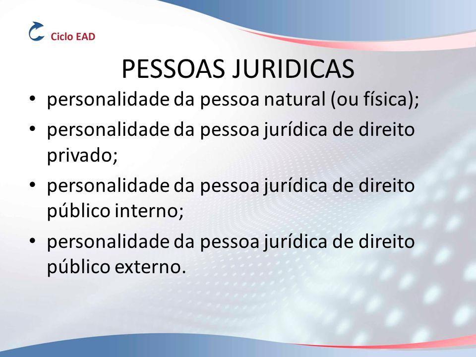 PESSOAS JURIDICAS personalidade da pessoa natural (ou física); personalidade da pessoa jurídica de direito privado; personalidade da pessoa jurídica de direito público interno; personalidade da pessoa jurídica de direito público externo.