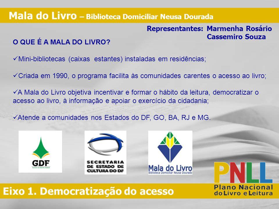 Eixo 1.Democratização do acesso QUAL É O PÚBLICO ALVO DO PROGRAMA MALA DO LIVRO.